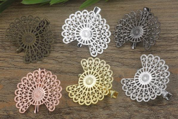 20pcs 38mm Rose Gold French barrettes flower hair pin vintage Alligator clip metal hairpin silver hairclip antique hairwear jewelry