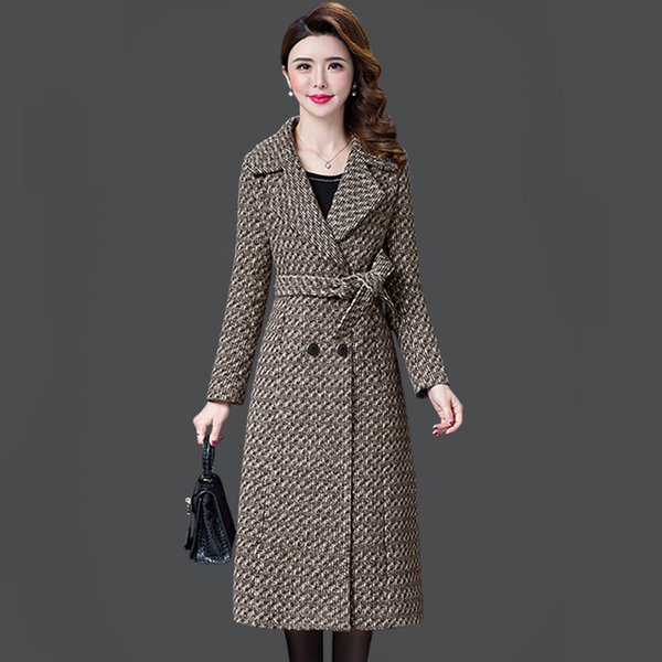 L-5XL New Women's Wool Coat Winter Autumn 2019 Fashion Plaid Jacket Lacing Belt Thicken Slim Woolen Blends Tops Outerwear Female