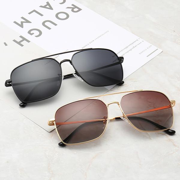 Top Fashion Brand Pilot Folding Sunglasses Designer Sun Glasses For Men Women Gradient Alloy Metal Gold Frame Brown Glass Lens 58mm