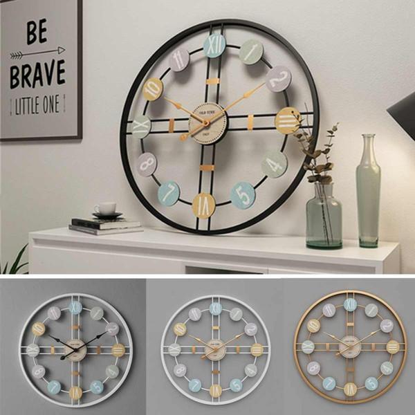 top popular 40CM Silent Round Wall Clock 3D Retro Nordic Metal Roman Numeral DIY Decor Wall Clock for Home Living Room Bar Cafe Decor 2020