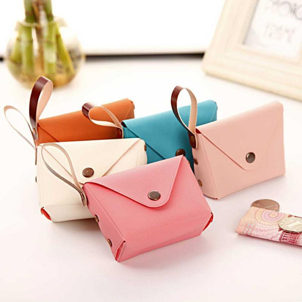 Korean Version Cute Candy Color Small Wallet Coin Purse Bag Key Charge Bags Mini Pack Bags For Women Girls Lady Fashion Pu Pouch