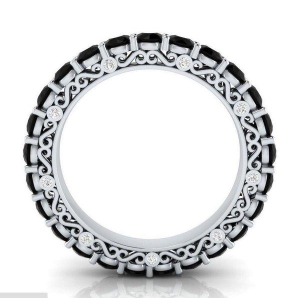Toptan desgin Lüks Takılar 925 Gümüş Kadınlar Hediyesi için çok renkli CZ Safir Parti OL Düğün Çember Band Yüzük Dolgulu