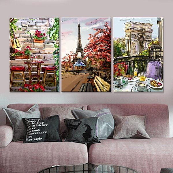 picture for living room Drop-shipping Modern Paris City Landscape Canvas Painting Home Decor Wall Art Picture for Living Room Unique Gift No