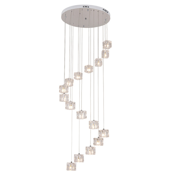 Stairs long Pendant Lights LED modern dining room hotel Hall Mall droplight creative revolving double stair Pendant Lights