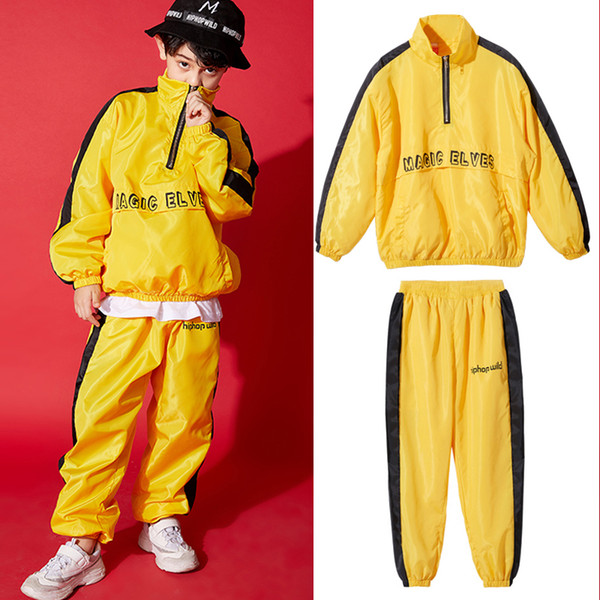 Bambini Ragazzi Hip Hop Dance Costumes giallo dei bambini del vestito Satge costume Street Dance Sport Performance bambini Fase Outfit BL1505