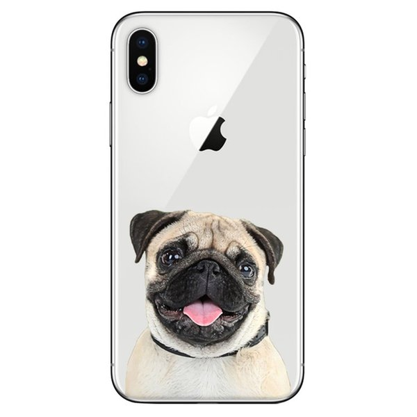 Lovely Dog Pug Design Printed Soft Silicone TPU Clear Phone Case for iPhone 5 5s SE 6 6s 7 8 Plus X XR XS MAX