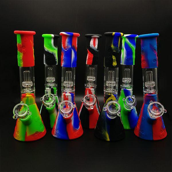 Silikon Bongs Rohr Honig Kamm Bong Wasser Öl Rauchen berauschenden Becher Dab Rigs Percolators Perc Abnehmbare 11,42 Zoll gerade mit Glasschüssel
