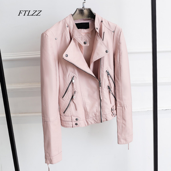 FTLZZ New Women Fashion Zipper Faux Leather Jacket Slim Long Sleeve Short Design Black Pink Motorcycle Pu Jacket