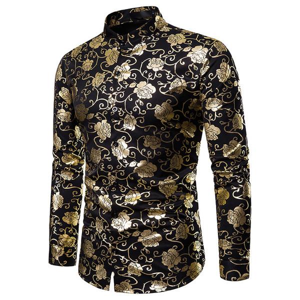 Ouro Rose Flor Folha Imprimir camisa dos homens Camisa Masculina 2019 Marca camisa do smoking New Casual Mens Shirts casamento Negócios por Homens