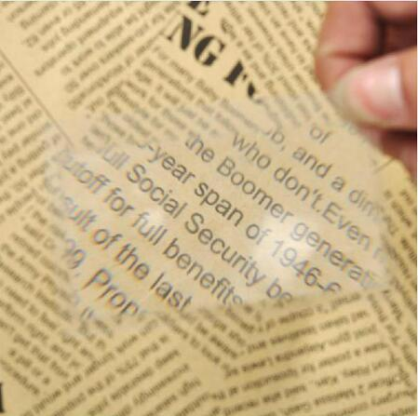 Lupa de tarjeta de crédito Ampliación Lupa Fresnel Lente de bolsillo Tamaño de tarjeta de crédito Cristal transparente