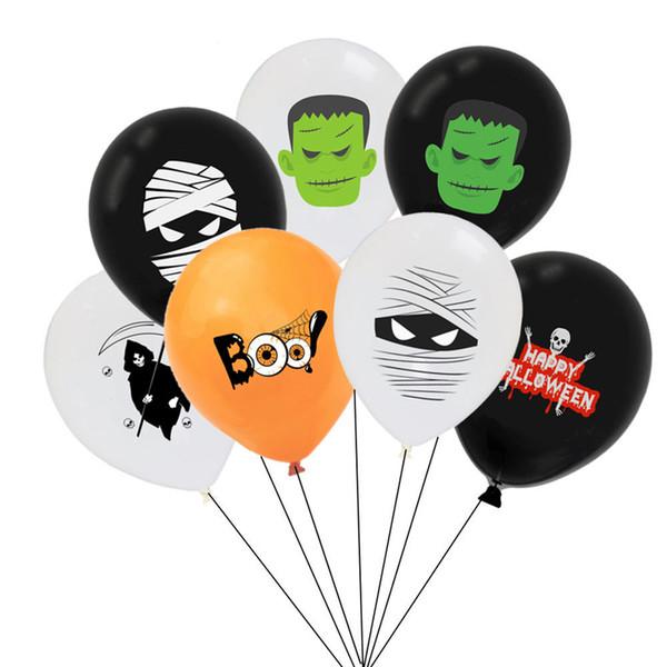 12inch Halloween Latex Balloon Ghost Skull Mummy Printed Halloween Party Decoration Balloon Round Kid Toy Halloween Supplies DBC VT0553