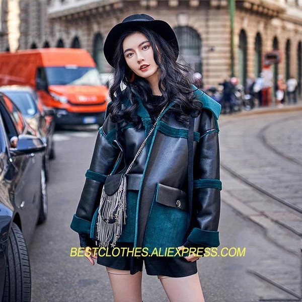 Reversible Women&s Coat Autumn Winter Nice New Patchwork Both Side Wear Clothes Plush Velvet Motorcycle Coats Casual Tops WM181