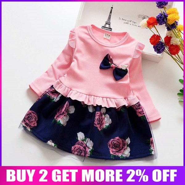 Baby-Frühlings-Kleid scherzt Weihnachtsfest-Kleider für Mädchen-Blumenkleidungs-Kind-Baumwollkleid-Babykleidung Art- und Weiseausstattungen