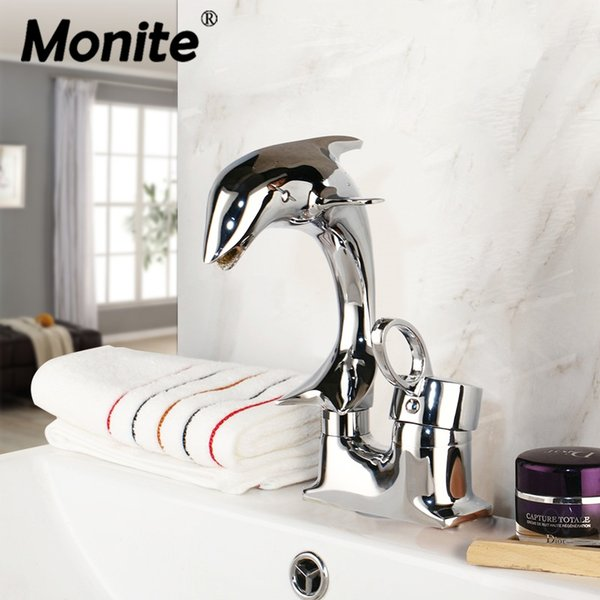 Monite Dolphin Polished Chrome Solid Brass 1 Handle 2 Hoses Deck Mounted Stream Spout Bathroom Basin sink Mixer Tap Faucet