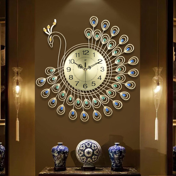 top popular Large 3D Gold Diamond Peacock Wall Clock Metal Watch for Home Living Room Decoration DIY Clocks Crafts Ornaments Gift 53x53cm 2020