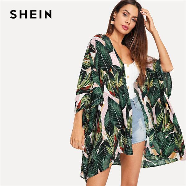 SHEIN Multicolor Tropical Jungle Leaf Estampado Batwing Manga Kimono 2019 Mujer Verano Manga larga Vacaciones Blusas de playa