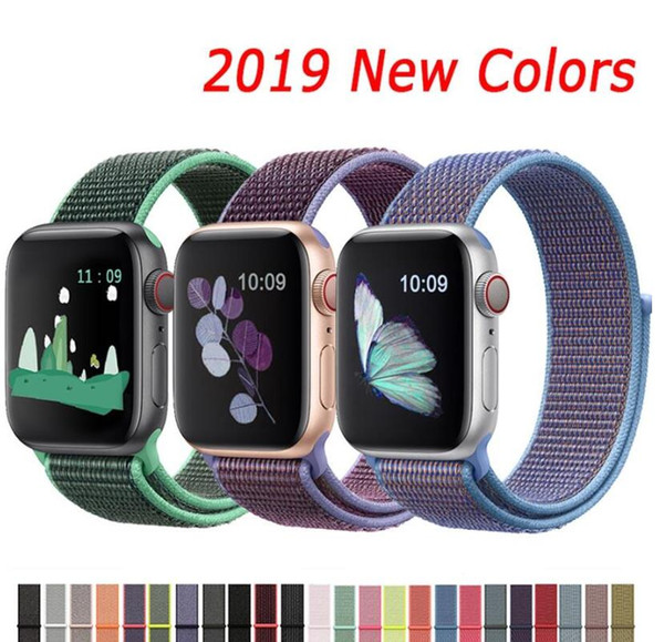 Banda para Apple Watch 4 3/2/1 38MM 42MM Nylon Correa de reemplazo transpirable suave deporte Loop 40MM 44MM color del arco iris