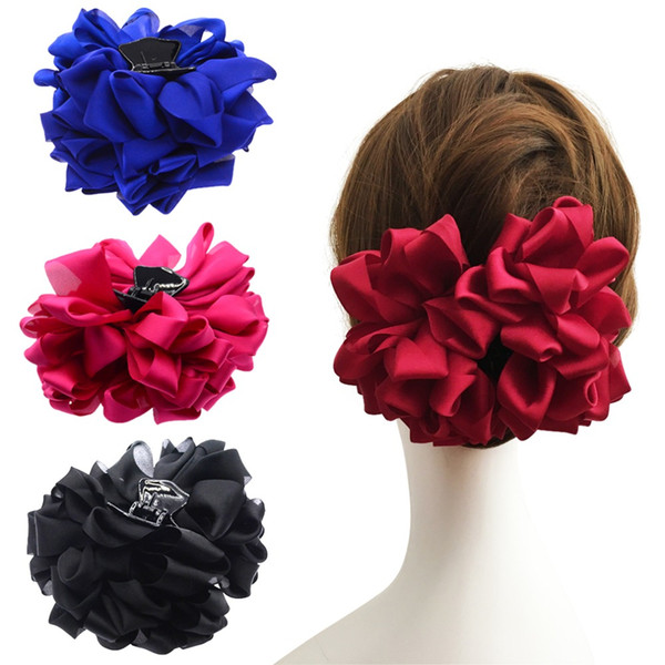 New Large Silk Flower Bow Hair Claw Jaw Clips For Women Hair clamps Girls' Wedding Barrettes Accessories PC081