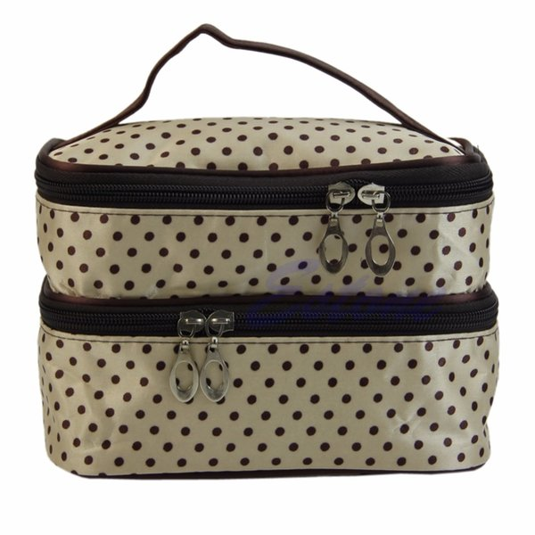 1Pc Women Travel Cosmetic Polka Dots Makeup Double Layer Case Pouch Organizer Bag New