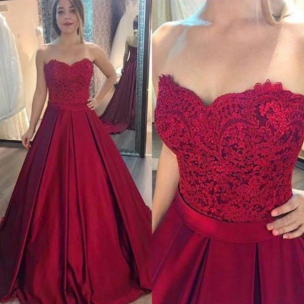 Élégante Bourgogne satin robe de bal Robe longue Robe de soirée sans bretelles parole longueur ligne Custom Made robe de bal 2019 Robe De Fiesta