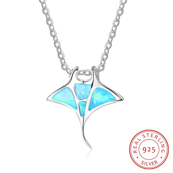 China factory high quality 925 Sterling Silver Simulated Blue Opal Whale Pendant Necklace Trendy Ocean Whale Necklace
