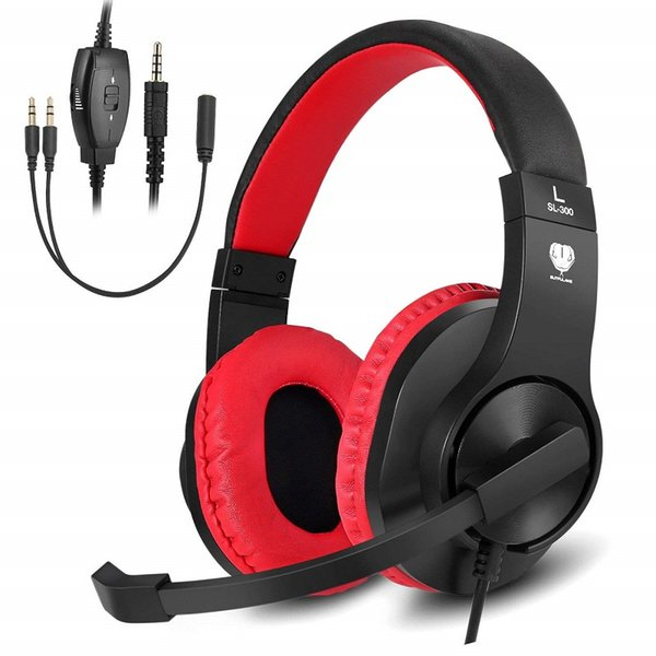 New SL-300 Stereo Gaming Headset for PS4, Xbox One, Over-All Noise Isolation, Lightweight 3.5mm Wired Volume Control for Computer Games