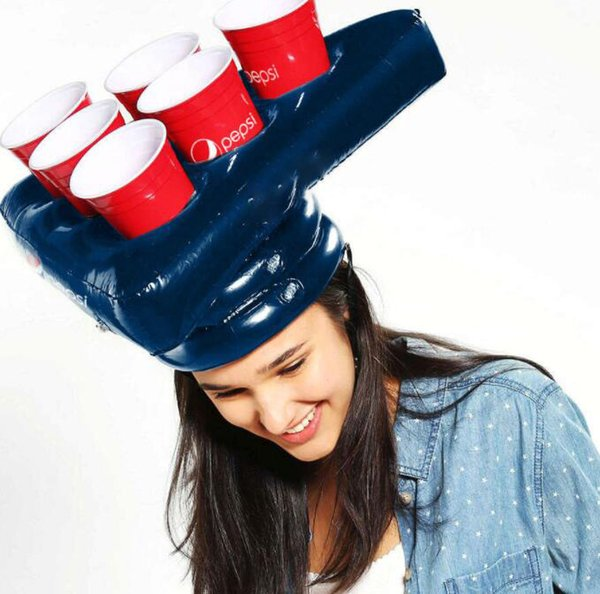 Inflatable Cup Holder Hats Rings Game Fun Lawn Toys Halloween Head Prop Funny Inflatable Hat pool toy LJJK1302