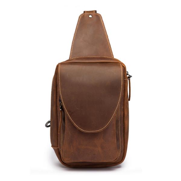 BOLEKE Brown Vintage 100% Guarantee Genuine Leather Women Men Chest Bags Crazy Horse Leather Man Messenger Bag