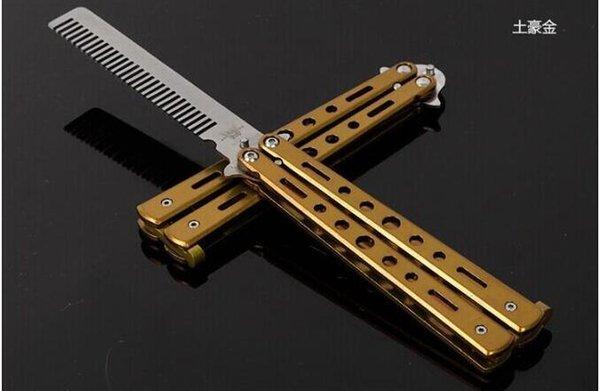 Nuovo arriva delicato Pro Salon piegatura dell'acciaio inossidabile formazione farfalla Practice Stile coltello pettine strumento 30pcs / lot