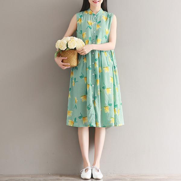 2019 abito cinese cheongsam qipao abito in cotone e lino cheongsam senza maniche fiore vintage qipao party