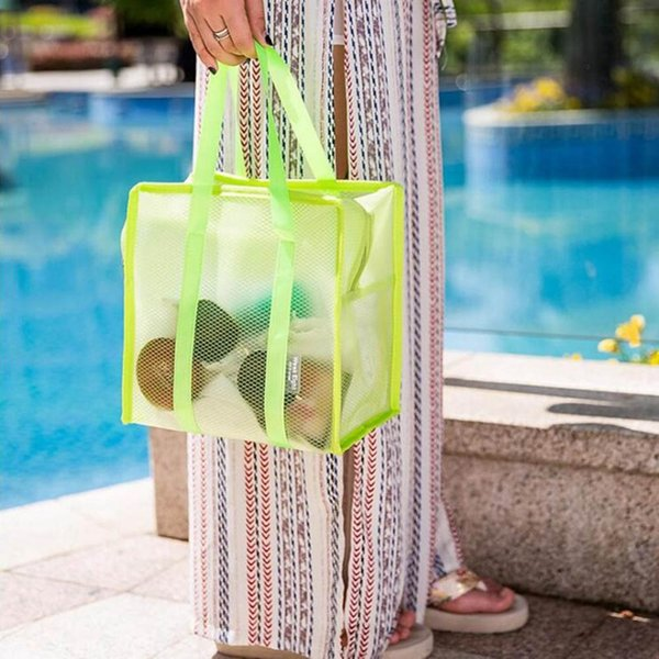 1 PC Half-transparent Cosmetic Bag Mesh Washing Handbag Beach Bathing Suit Toiletry Bag Travel Washing Tote Dropship New