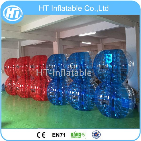 Free Shipping 12PCS (6 Red+ 6 Blue +2 Pump)Amazing popular! 0.8mm PVC Bubble Soccer Bubble Football Inflatable Soccer Bubble Ball