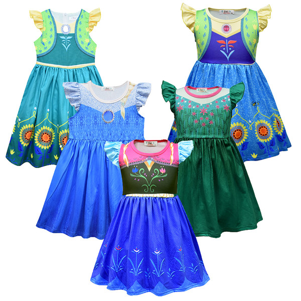 best selling Snow Queen 2 Baby Girls Princess Dress for Kids Party Cosplay Costume Kids Fly Sleeve Ruffle A-Line Dresses Sundress Children Cothing M1158