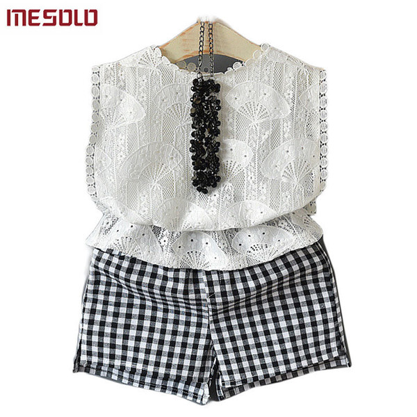 good quality 2019 children han edition bud silk shirt suits summer grid shorts two dresses wholesale D5749 of the girls