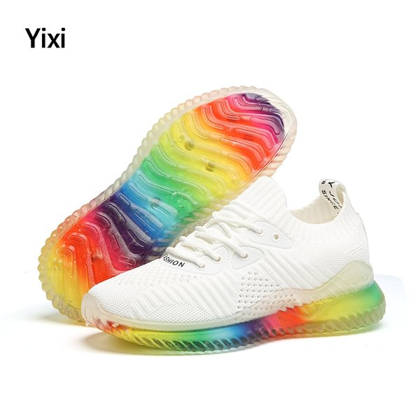 2019 D'été Respirant Multicolore Casual Femmes Chaussures Tennis Feminino Sneakers Glitter Chaussures Femmes Chaussette Plate-Forme De Mode