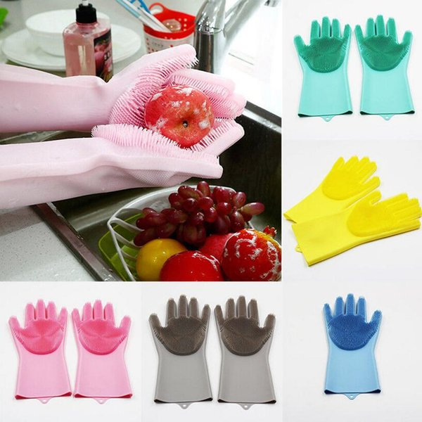 Magia de silicona plato lavar guantes 5 colores ecológicos depurador de limpieza para la cocina guantes de limpieza 2 unids / par OOA5991
