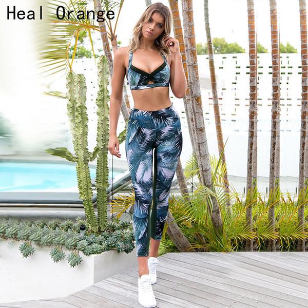 Kadınlar Seksi Spor Giyim Takım Elbise Çiçek Baskı Yoga Seti Spor Koşu Sıkı Spor Giyim Spor Giyim Spor Giyim Spor Bra + Pant