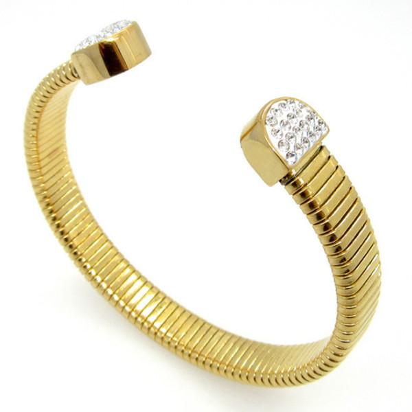 Y6 nd Kristal Shambhala Altın Manşet Bileklik Teddy Paslanmaz Çelik Takı Kadınlar Hediye Moda Aksesuar