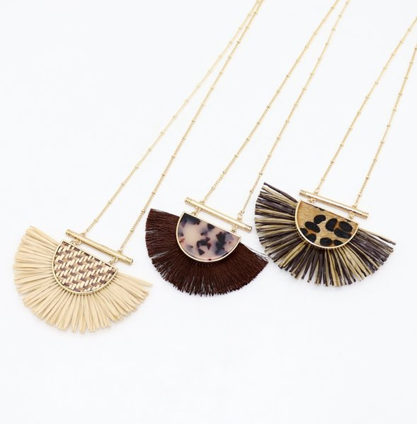 New Fashion Semicircle Pendant Tassel Necklaces Braided Straw Leopard Print Sweater Long Chain Necklace New York Kendra Jewelry