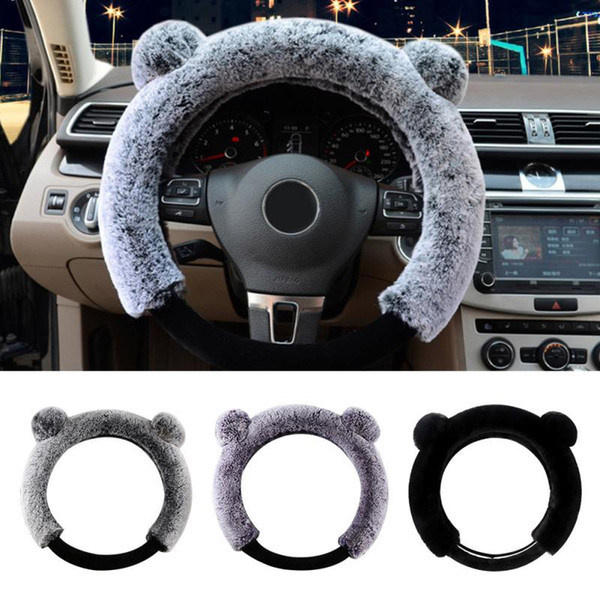 15inch universal steering wheel cover fluffy short plush winter warm round non slip winter warm faux wool steering wheel cover