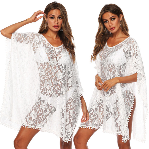 Sleeveless Mini Short Beach Dresses for Women Solid White Hollow Out Wear Lace Crochet Bikini Cover-ups See Through Beachwear