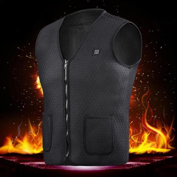 Hommes Intelligent Wear chaud Sports de plein air de chauffage à infrarouge USB Gilet Veste flexible électrique thermique # 730 Waistcoat