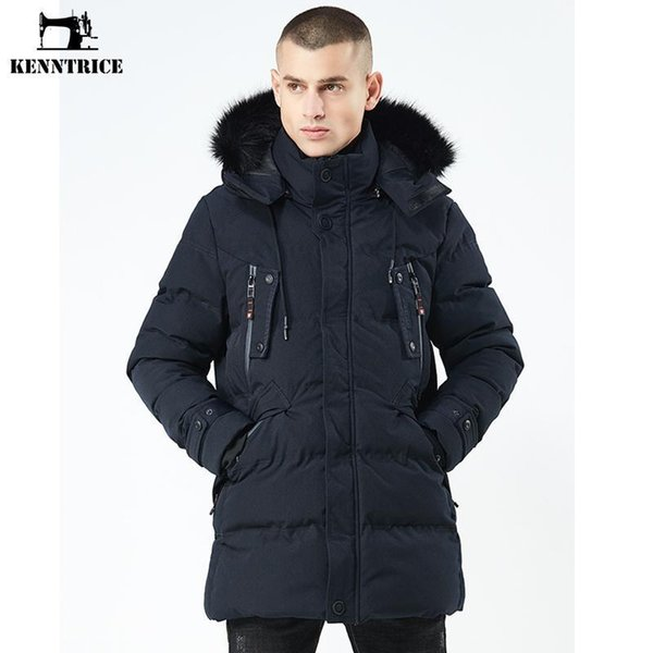 Kenntrice Jacket Men Nice High Quality Parka Stand Collar Plus Thick Warm Coat Long Winter Mens Hooded Overcoat