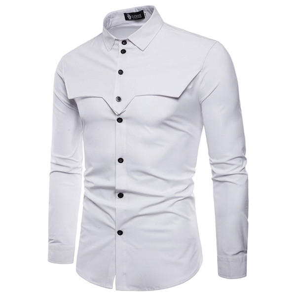 Spring Mens Solid Casual Shirts Fashion Designer Male Patchwork Shirts Mens Luxury Turn Down Collar Clothing