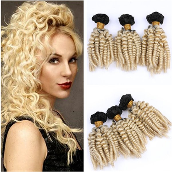 """Blonde Ombre Aunty Funmi Peruvian Hair Weaves 3Pcs #1B/613 Dark Root Blonde Ombre Human Hair Bundles Deals Bouncy Curly Double Weft 10-30"""""""