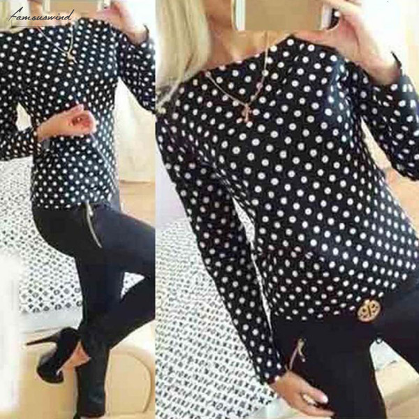 Blouse Mode Femmes Nouveau col rond manches en mousseline de soie Dot Camisa longues Chemise Vêtements Hauts pour dames T-shirt Femme