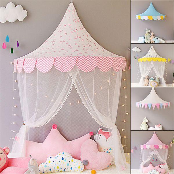 Tende a baldacchino da principessa in pizzo bianco per bambini Tende per bambini rotonde Gioca Teepee Tipi Tenda Decorazione camera Letto per bambini Appeso Rete per presepe