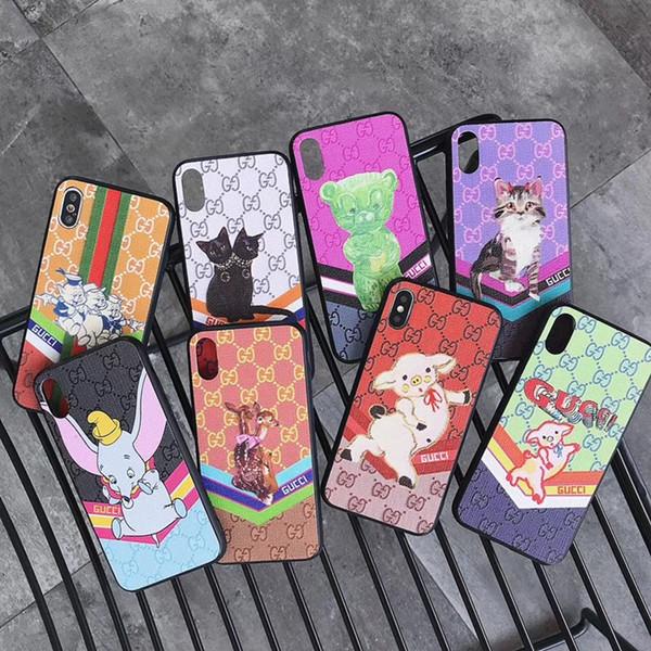Plaid Imprimé Animal En Cuir Couverture Arrière Couverture Stripe Chat Éléphant Ours Holster Téléphone Cochon Cochon pour iPhone XS Max XR 6s 8 Samsung S10