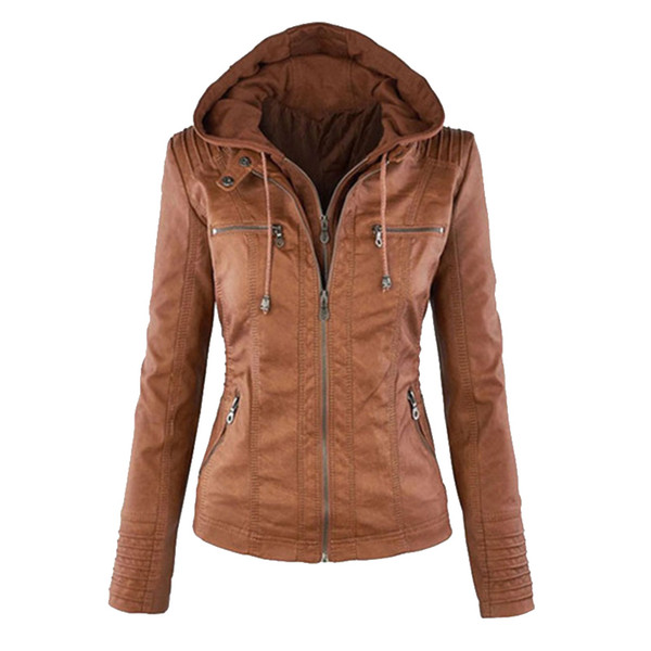 SHUJIN Ladies Leather Jacket Plus Size Leather Jacket For Women Autumn Winter Motorcycle Hooded Faux Long Sleeve PU Leather Coat D19010903
