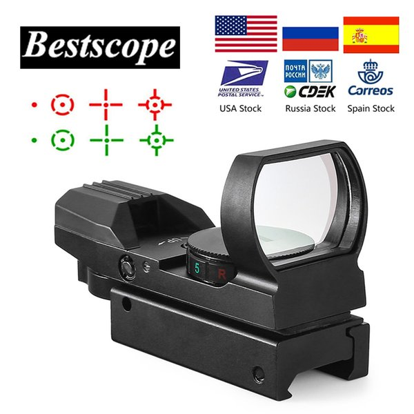 Mira telescópica de 20 mm en caliente Óptica de caza Punto holográfico de punto rojo Reflex 4 Retícula Alcance táctico Colimador Vista para alcance de rifle Tan negro
